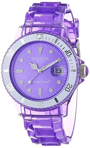 MADISON NEW YORK Candy Time® Jelly Mix U4631-01/1 - Orologio da polso unisex, cinturino in plastica colore violetto