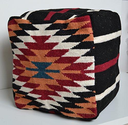 Emporium Housse de Pouf en Laine Kilim 40 cm Cube Tissu Pouf Pouf Pouf Pouf Repose-Pieds Repose-Pieds Rouge Orange