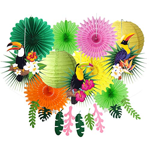 SUNBEAUTY Summer Party Decorations Toucan Paper Fans Leave Garland Banner for Tropical Luau Hawaiian Party Decorations