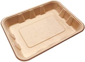 [100 Count] 22oz Compostable Eco Friendly Container Trays - Deep Containers Made from Tree-Free Bagasse Fibers Sugarcane for Meal Prep Dinnerware Plates Catering Bento Boxes Takeout 100% by Products