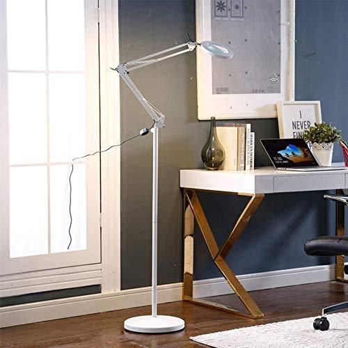 Wghz Lámpara de Lupa, lámpara de Lupa de Brazo Giratorio Ajustable con Modos de Interruptor de botón pulsador de 2 Colores y Base de Metal para salón de Belleza, Cuidado de la Piel, manicura, tat
