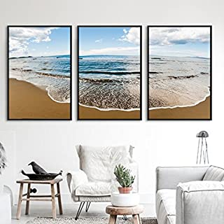 Paintsh Decorative Painting Living Room Sofa Backdrop Wall Triptymeter Box Cover Painting, 70 * 90 Triple, Black Frame - B...