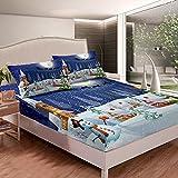 Juego de sábanas con diseño de muñeco de nieve para niños, niñas, diseño de dibujos animados, juego de cama con 1 funda de almohada, 2 unidades