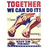 ポスター 戦争第二次世界大戦米国労働管理は発砲を続けます A3サイズ [インテリア 壁紙用] 絵画 アート 壁紙ポスター