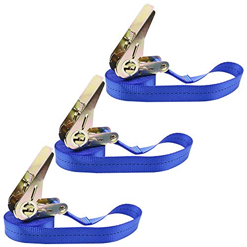 Foundove 3 Pack Ratchet Straps Heavy Duty, Tie Down Tensioning Belts Lashing Strap for Cargo, Luggage, Bike, Car, Van, Roof, Endless Load Ratchet Fastening Straps (Blue, 5M)