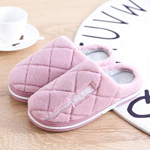 Pantuflas de Casa Regalo para Mujer ,Zapatillas de felpa caseras cálidas de invierno para parejas para hombre, zapatos de pareja para mujer, pisos interiores, comodidad para mujer, púrpura EU 38-39