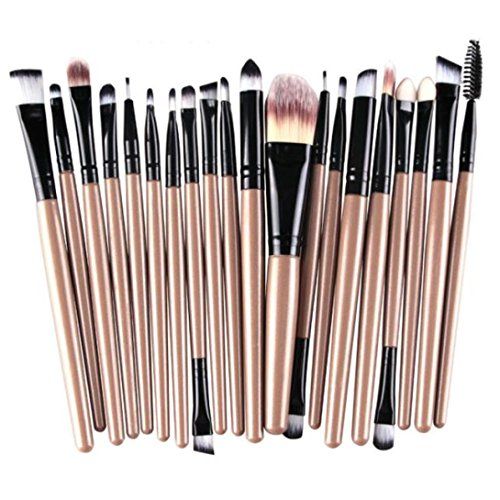 AMUSTER 20pcs Kosmetik Pinsel Pinselsets Schmink Pinselsets Make up Pinsel Set KitsTools Bilden Make up Pinsel Set Geschenk Kosmetik Pinselset Damen (One Size, Gold)