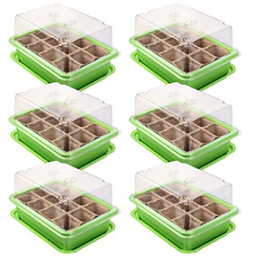 Schramm® 6 Stück Anzucht Set Gewächshaus Anzucht Schale Töpfe Zimmergewächshaus 20,5 x 15,5 x 11 cm für 72 Anzuchttöpfe Anzuchtset Mini-Gewächshaus