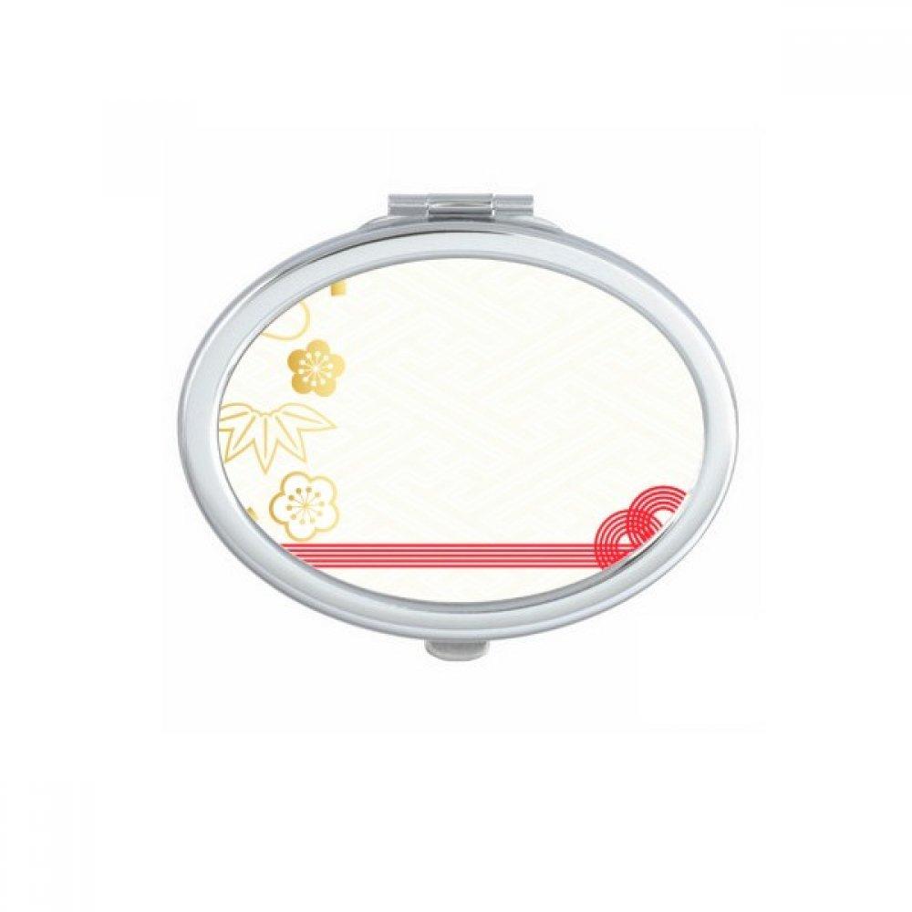 Golden Sale Special Price Sakura Geometry Flowers famous Pattern Fold Mirror Oval Portable