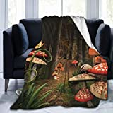 Hello Gorgeous Blankets Mushroom in Dark Forest Flannel Comfortable Sherpa Blanket Reversible Couch Blanket Lightweight Warm Sofa Blanket for Kids Adults 60'X50'