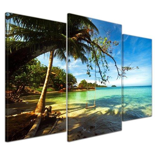 Bilderdepot24 Bild auf Leinwand | Tropical Beach Under Blue Sky - Thailand in 100x60 cm mehrteilig als Wandbild | Wand-deko Dekoration Wohnung modern Bilder | 16139