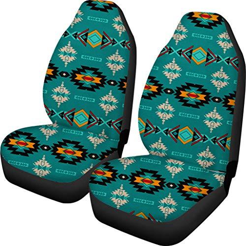 Showudesigns Autositzbezüge im Tribal-Azteken-Design, 2 Stück, Indianer-Muster, Vordersitzbezüge für Autoschoner, Satteldecke, indisches Southwest-Auto-Zubehör