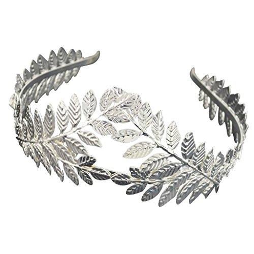 Blatt Haarreif Vintage Boho Braut Haar Krone Stirnband Tiara Kopfschmuck ür Hochzeit Mittelalter Proms Party Mottoparty - Silber 1