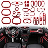 Car Interior Accessories Decoration Cover Trim Air Conditioning Vent Decoration & Door Speaker & Water Cup Holder & Headlight Switch & Window Lift Button Covers for Jeep Renegade 2015-2020 (Red)