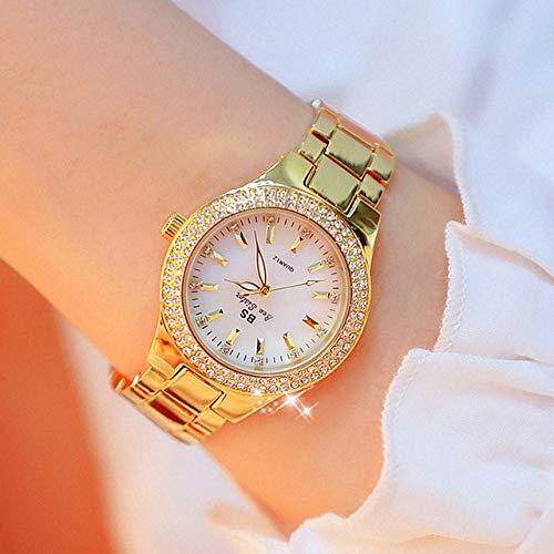 Legxaomi Montre pour femme 2021 - Or - Cristal - Diamant - Montre en acier inoxydable - Montre argentée - Tendance pour étudiantes - Entièrement diamantée - Étanche - Montre à quartz dorée