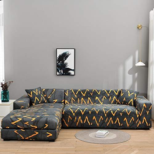 LiQinKeJi8 Funda de sofá, Cubierta de sofá elástica Sofá elástica geométrica Cubiertas para Sala de Estar L En Forma de Esquina Caja de Esquina Longue Sofá Slfques 1pc para sofás
