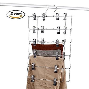 DOIOWN 6 Tier Skirt Hangers Pants Hangers Closet Organizer Stainless Steel Fold up Space Saving Hangers (2-Pieces)