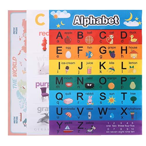 TOYANDONA Pôster educativo para pré-escola de 3 peças Fônicas Inglesas Idioma Arte Habilidades Cartazes Fônicos de Parede para Decorações de Sala de Aula para Crianças