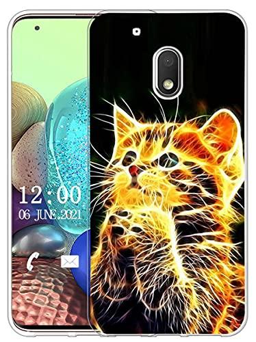 Sunrive Cover Compatibile con Motorola Moto G4 Play, Custodia Case in Molle Trasparente Silicone Morbida Flessibile AntiGraffio Protettiva Back custodie(X Gatto)