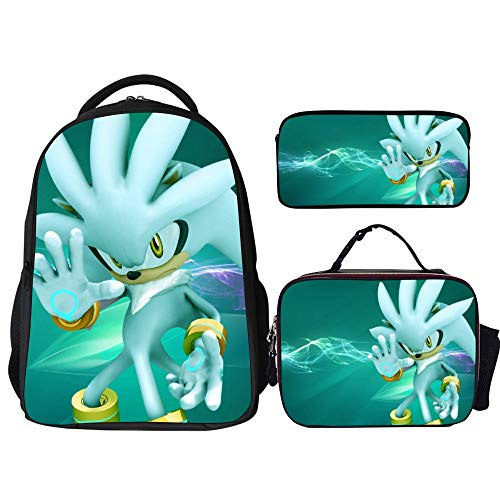 Sonic Backpacks 3Pcs Set,Silver The Hedgehog Sonic (6),Backpack with Lunch Bag and Pencil Case Kids 3 in 1 Bookbags Set Cute School Bag for Teen Girls Boys Water Resistant