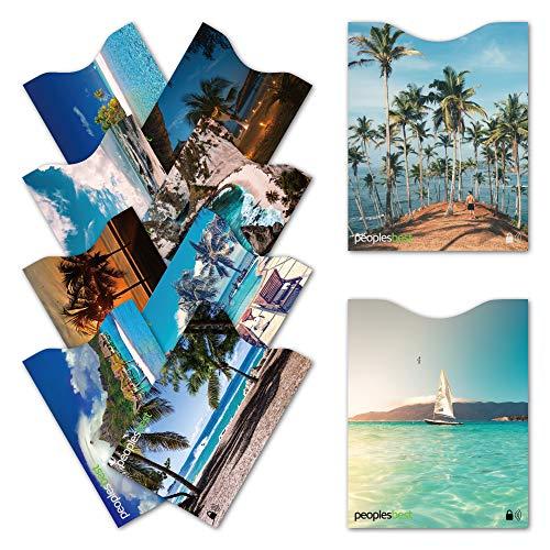 TÜV geprüfte RFID & NFC Kreditkarten- und Reisepass Schutzhüllen (10 Stück) | Travel-Basics | super dünn & robust für 100% Datenschutz (Paradise)