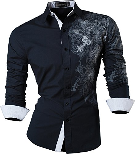 Sportrendy Hombre Casual Slim Dragon Tattoo Manga Larga Button Down Camisa Shirt JZS048 Navy S