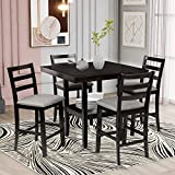 P PURLOVE 5-Piece Dining Table Set Wood Kitchen Table Set Counter Height Dining Set with Padded Chairs and Storage Shelving Dining Room Table Set for 4 Persons,Espresso