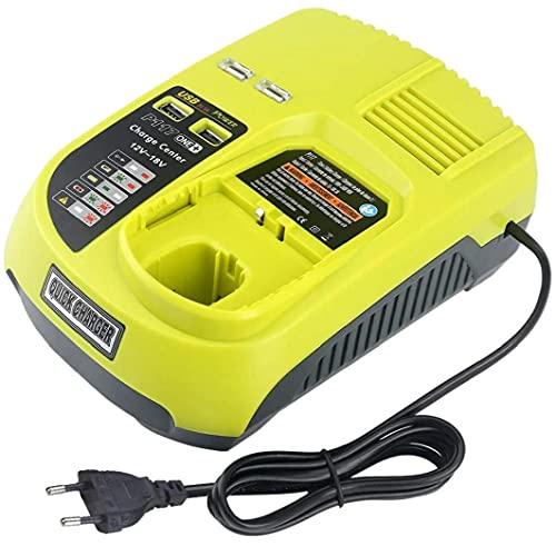 GGOOD 12V-18V Recargable Universal Cargador de batería para Ryobi P100 P102 P108 P117 P118 con Puertos USB de Carga rápida, Accesorios para Herramientas eléctricas