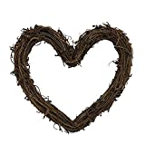 Natural Grapevine DIY Craft Heart Wreath Twig Wreath Vines Wreath for Rustic Summer Fall Christmas Wreath Door Garland Home Wedding Party Decoration Gift Wall Hanging Decor Wreaths Supplies (10inch)