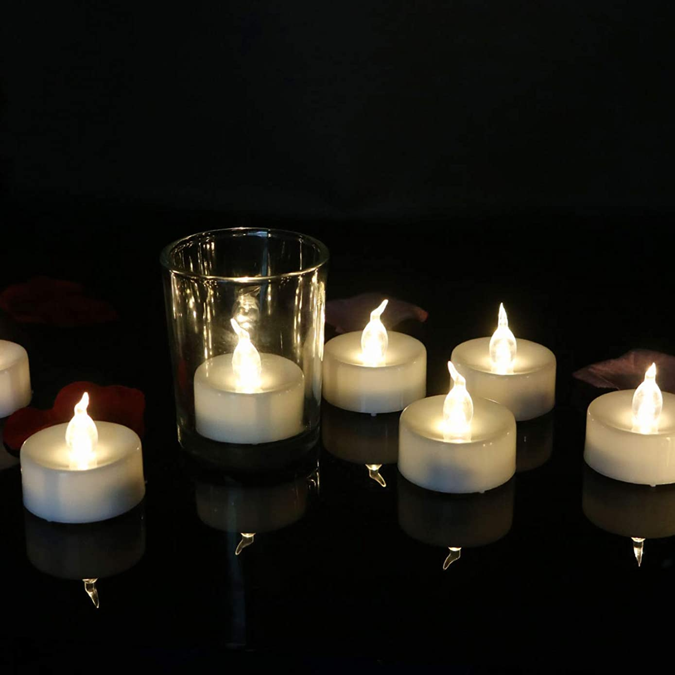 12pcs Tea Lights Electric Timer Battery Operated Flameless Flickering Warm White Led Candles for Halloween Christmas Thanksgiving Decorations