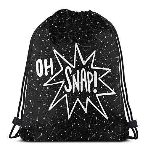 Oh Snap Drawstring Backpack Deportes Gym Bolsa Travel para Niños Men Women