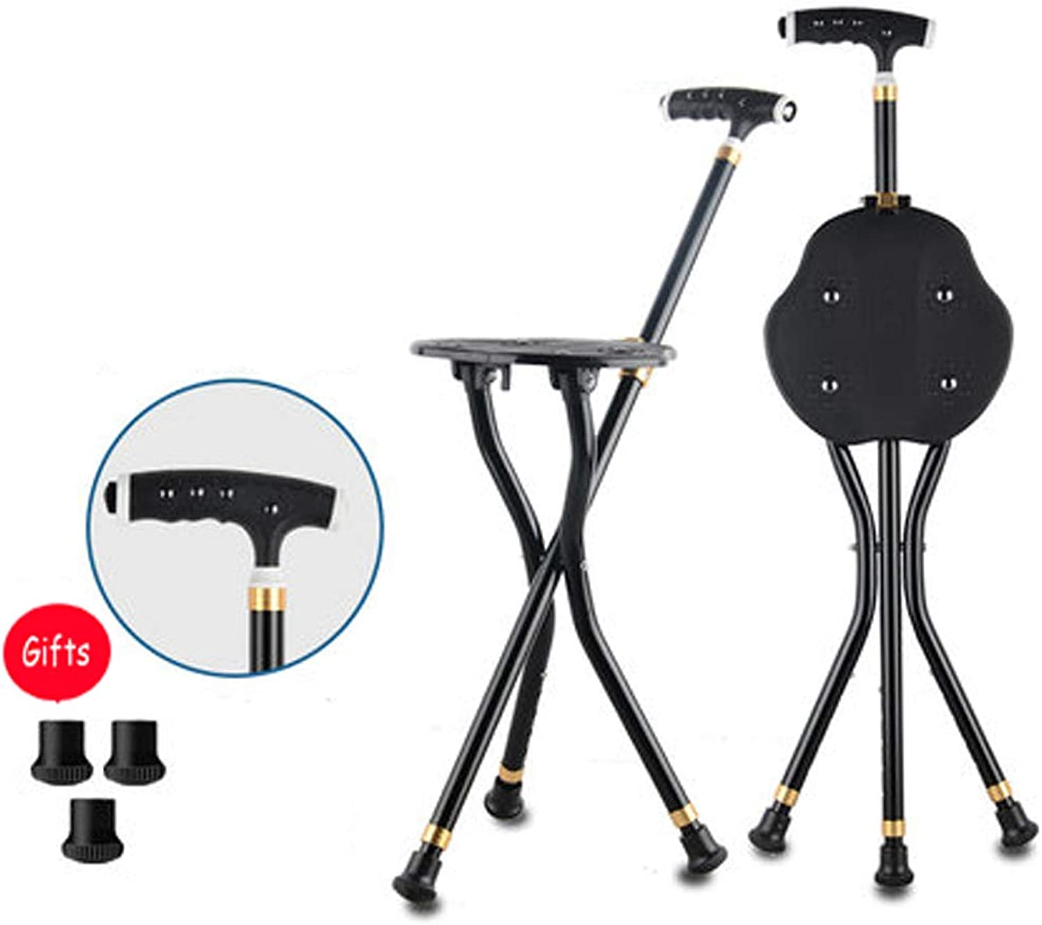 Cane Stool, 3 Legs Cane Seats, Crutch Chair Seat, 3 Legs Cane Seats, Walking Stick Chair Combo, Folding Walking Cane, with LED Light Lightweight and Adjustable, Multiple Choices,8Magnets