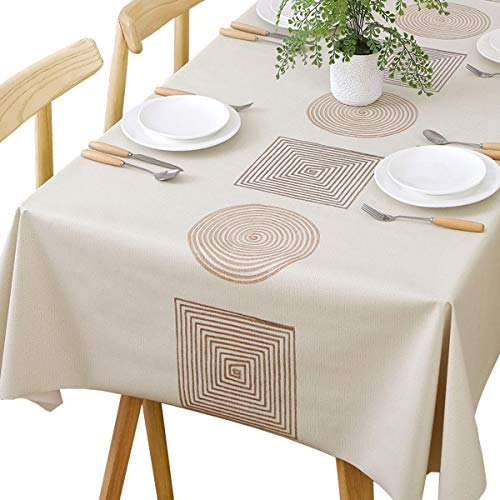 Plenmor Table Cloth Wipeable Tablecloth PVC Plastic Wipe Clean Waterproof Rectangular Table Cover Protector for Kitchen Picnic Outdoor Indoor (137x275 cm, Geometric)