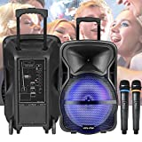 """Vocal-Star Portable PA Speaker System with LED Light Effect, Bluetooth, MP3, 12"""" 300w"""