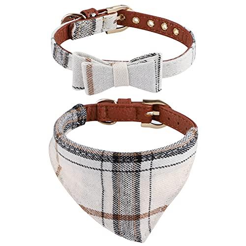 Paquete de 2 collares con bandana para perros,Pajarita ajustable para perro Collar para perro con pajarita correa ajustable Collares y Pañuelos Ajustables para Mascotas para perros pequeños y medianos