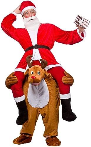 venderse como panqueques Disfraz de hombre de Papá Noel Noel Noel montado sobre reno, para adulto, Talla única  autentico en linea