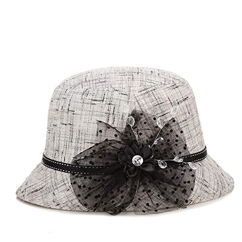 Review Hat Hat Ladies Spring and Summer Middle-Aged Outside Leisure Sunscreen Visor (Color : Grey)