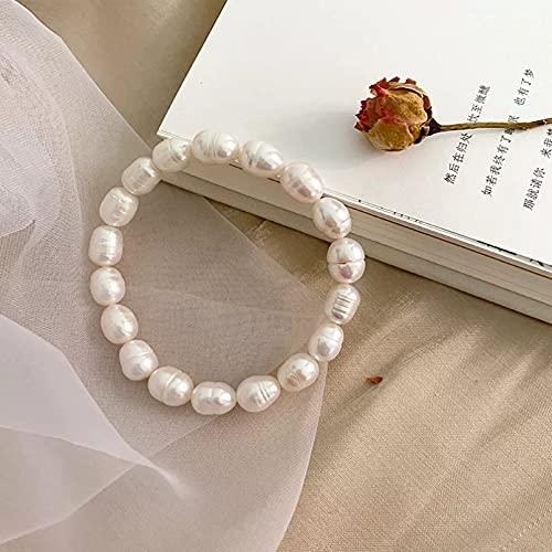 QiuYueShangMao Pulsera elástica de Perlas de Agua Dulce Natural Real, patrón de Crecimiento Natural para Mujeres, Regalo de joyería Cadena de la Amistad Regalo de cumpleaños para mamá, Esposa, Novia.