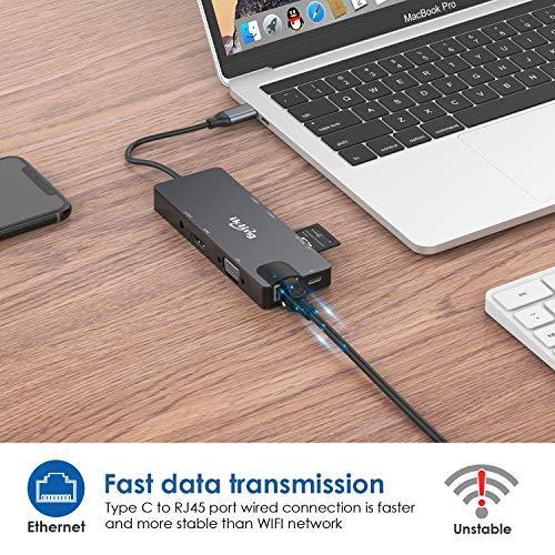 USB C Hub, 9-in-1 USB C Adapter with 4K USB C to HDMI,VGA, USB C Charging, 2 USB 3.0, SD/TF Card Reader, USB C to 3.5mm, Gigabit Ethernet, USB C Dock Compatible Apple MacBook Pro 13/15 (Thunderbolt 3)