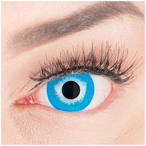 Farbige Mini Sclera Halloween Kontaktlinsen 'Blue Elf' - 17mm MeralenS Horror Lenses inkl. Behälter - 1Paar (2 Stück)