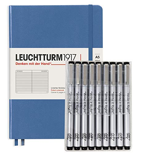 Leuchturm1917 Dotted Journal Medium A5 Bullet Notebook with 9 Pack Black Fineliner Fine Tip and Brush Journaling Pens Set (Dotted, Denim)