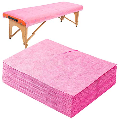 "20 PCS Massage Table Sheets Disposable Non Woven SPA Bed Cover Breathable Polypropylene Fabric 31"" x 70"" Pink"