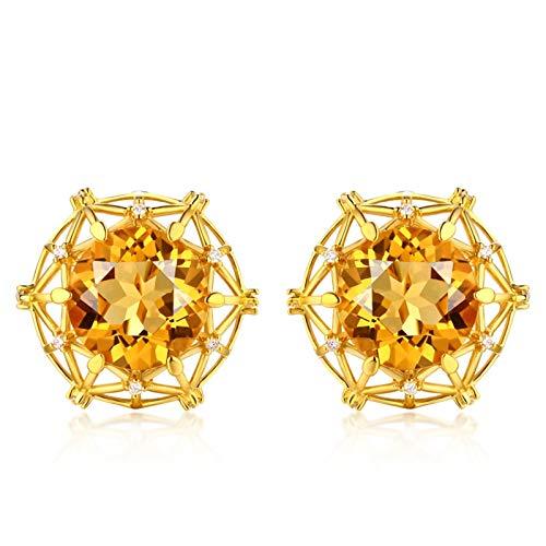 Beydodo Pendiente Mujer Oro,Pendientes Oro Amarillo 18k Redondo con Citrina Amarillo 6.6ct