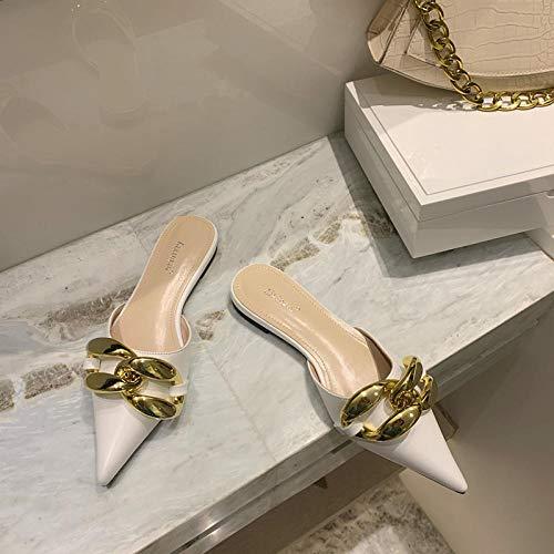 COQUI Sandalia,Verano nuevos Zapatos Planos de Cadena con Punta Puntiaguda, Sandalias y Zapatillas de Medio Arrastre-Blanco_37
