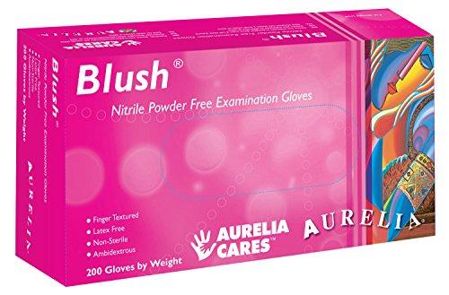 Supermax 78887Aurelia Blush guantes de nitrilo, sin polvo, tamaño mediano, color rosa (Pack de 200)