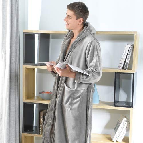 HYSJLS Albornoz Bata tamaño Grande baño baño de Invierno para Hombres Franela Suave Extra Larga Longitud túnica Masculina túnicas Masculinas Calientes Vestido de aderezo