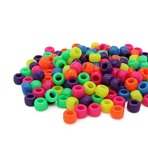 Beads Unlimited Neon Kunststoff Lauf Pony, Lime grün, 6 X 8 mm P, Plastik, Mix, 6 x 8 mm