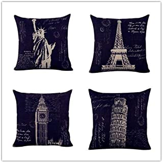 Acelive 20 x 20 Inches Retro Paris Eiffel Tower London Big Ben New York Statue of Liberty Italy The Leaning Tower Burlap Cushion Covers Pillow Case for Sofa Car (4PCS)