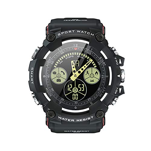 MJAD Outdoor-smartwatch, sportieve stappen, 5 ATM diepte waterdicht, intelligente herinnering, gratis opladen, uniseks, compatibel met iOS Android Bluetooth, Riemen, size, zwart