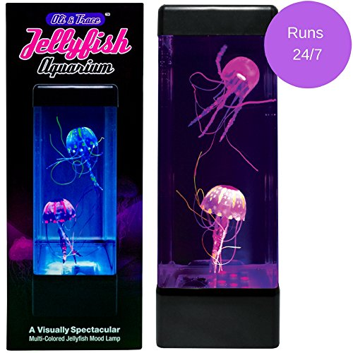 Oli & Trace Jellyfish Aquarium Mood Lamp - 2 Artificial Jelly Fish Swim in Tank Above 6 LED Lights, Perfect Night Light for Kids- Runs Continuously, No Automatic Shutoff - More Fun Than Lava Lamp